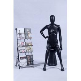 FC-66black schwarz weibliche abstrakte Schaufensterpuppe mit Hocker