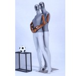 Beautiful Abstract Gray Matt Painted Mannequin 2 Heads Free Electroplating and Nature and Lid. Fabric-covered upper body