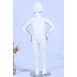 TTZX-4 Schaufensterpuppe weiß matt lackiert hochwertig Egghead mit Metallplatte Kinderpuppe