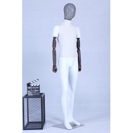 Mannequin white matt lacquered fabric covered head. Arms of wood. High quality metal mesh head with metal plate