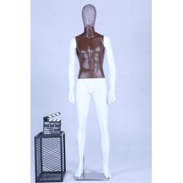 Schaufensterpuppe weiß matt lackiert Brauner Brustkorb hochwertig Metallgitter Kopf mit Metallplatte