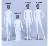 Mannequin white matt lacquered high-grade Metallgiter head with metal plate woman female