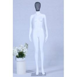 Schaufensterpuppe weiß matt lackiert hochwertig Metallgitter Kopf mit Metallplatte Frau Weiblich